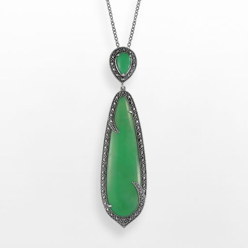 Lavish by TJM Sterling Silver Chrysoprase Teardrop Pendant - Made with Swarovski Marcasite