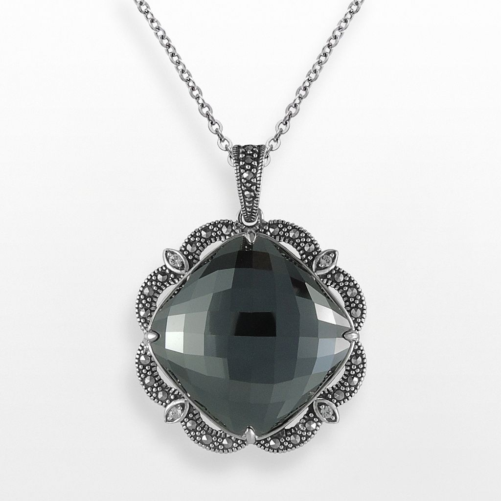 Lavish by TJM Sterling Silver Hematite & Crystal Pendant - Made with Swarovski Marcasite