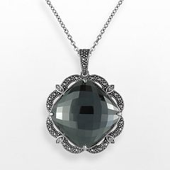 Lavish by TJM Sterling Silver Hematite & Crystal Pendant - Made with Swarovski Marcasite