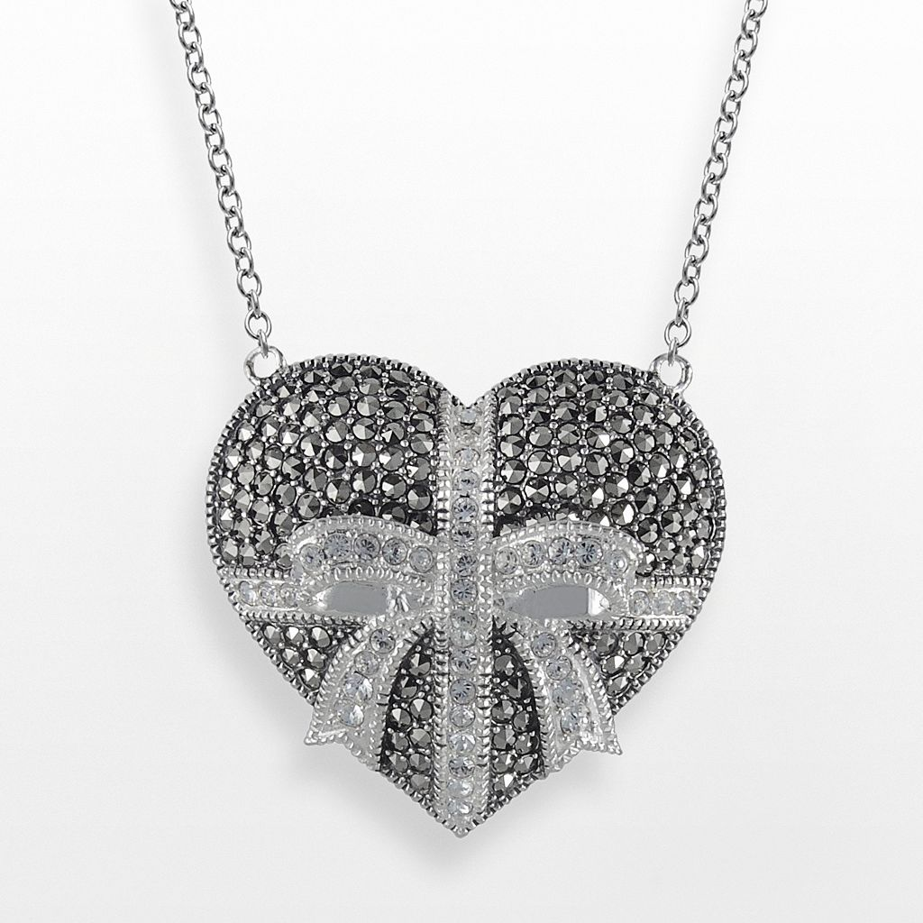 Lavish by TJM Sterling Silver Crystal Heart & Bow Pendant - Made with Swarovski Marcasite