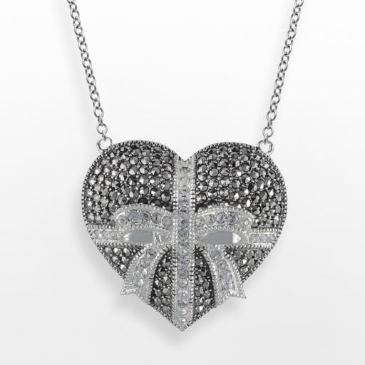 Lavish by TJM Sterling Silver Crystal Heart and Bow Pendant - Made with Swarovski Marcasite