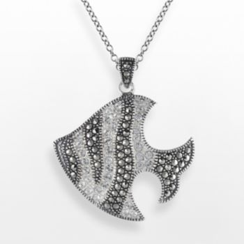 Lavish by TJM Sterling Silver Crystal Fish Pendant - Made with Swarovski Marcasite