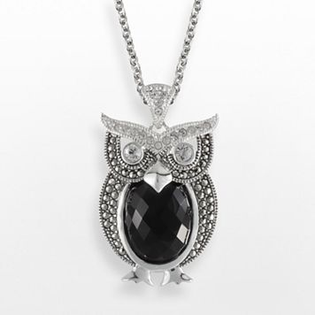Lavish by TJM Sterling Silver Onyx & Crystal Owl Pendant - Made with Swarovski Marcasite