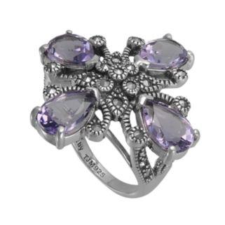 Lavish by TJM Sterling Silver Amethyst Flower Ring - Made with Swarovski Marcasite