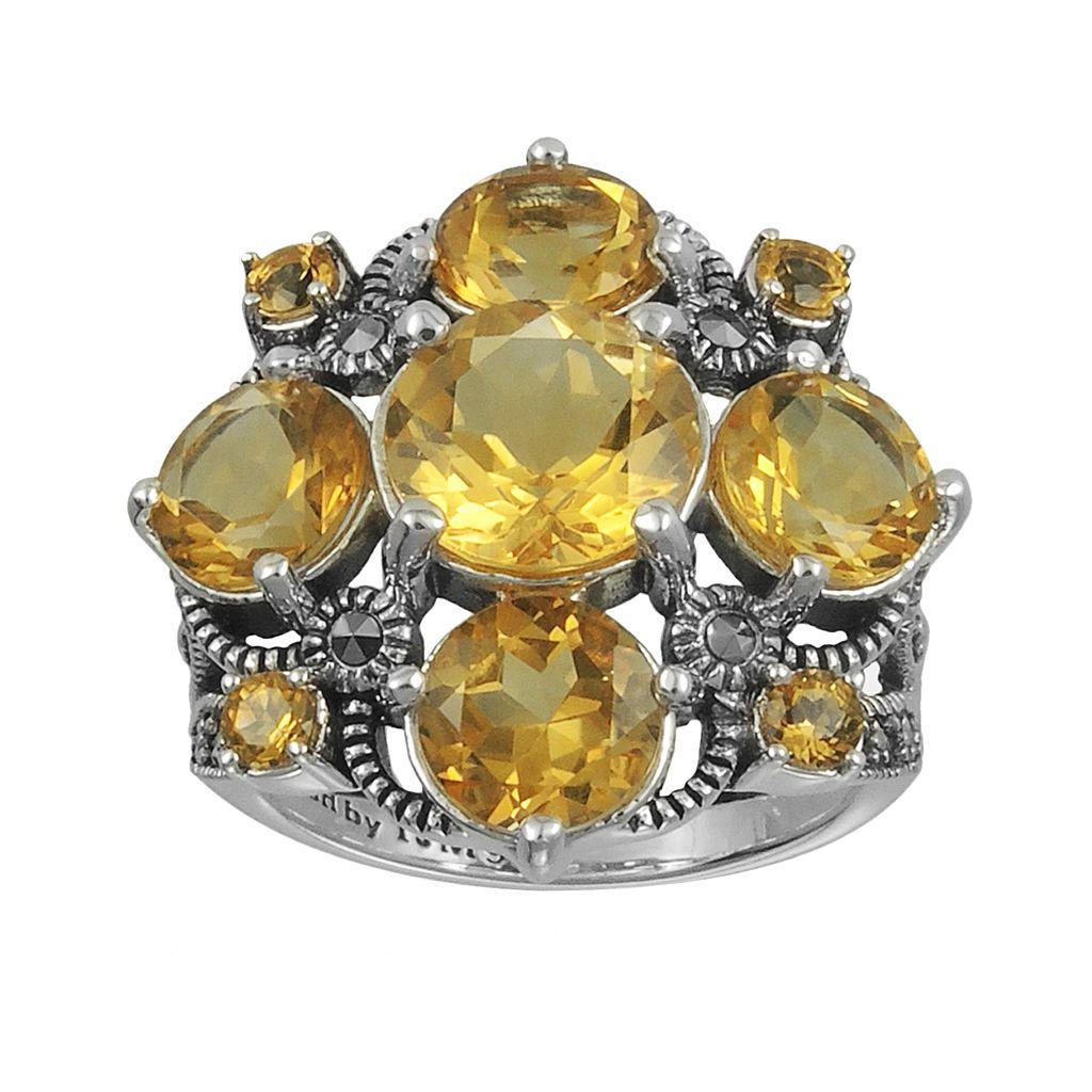Lavish by TJM Sterling Silver Citrine Ring - Made with Swarovski Marcasite