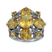 Lavish by TJM Sterling Silver Citrine Ring - Made with Swarovski Marcasite