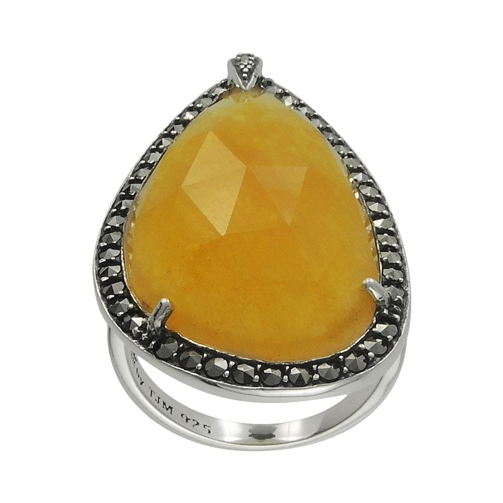 Lavish by TJM Sterling Yellow Jade Teardrop Ring - Made with Swarovski Marcasite