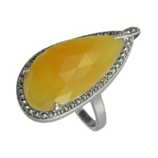 Lavish by TJM Sterling Silver Yellow Jade Teardrop Ring - Made with Swarovski Marcasite