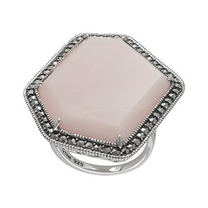 Lavish by TJM Sterling Pink Opal Ring - Made with Swarovski Marcasite