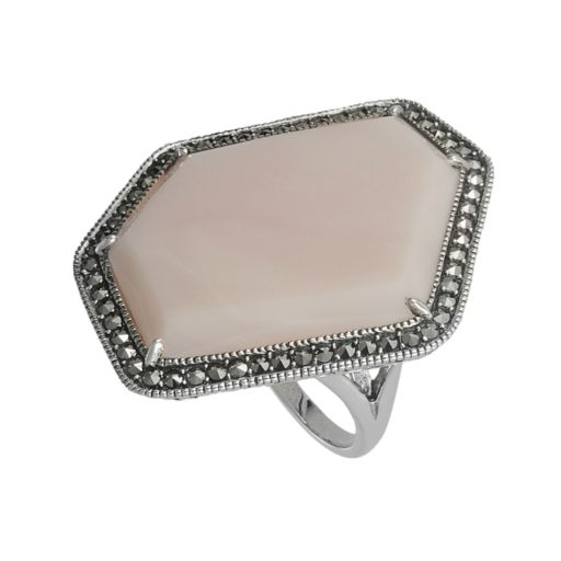 Lavish by TJM Sterling Silver Pink Opal Ring - Made with Swarovski Marcasite