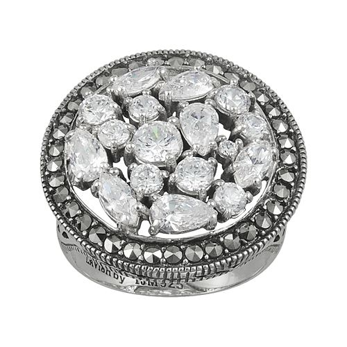 Lavish by TJM Sterling Silver Cubic Zirconia Ring - Made with Swarovski Marcasite