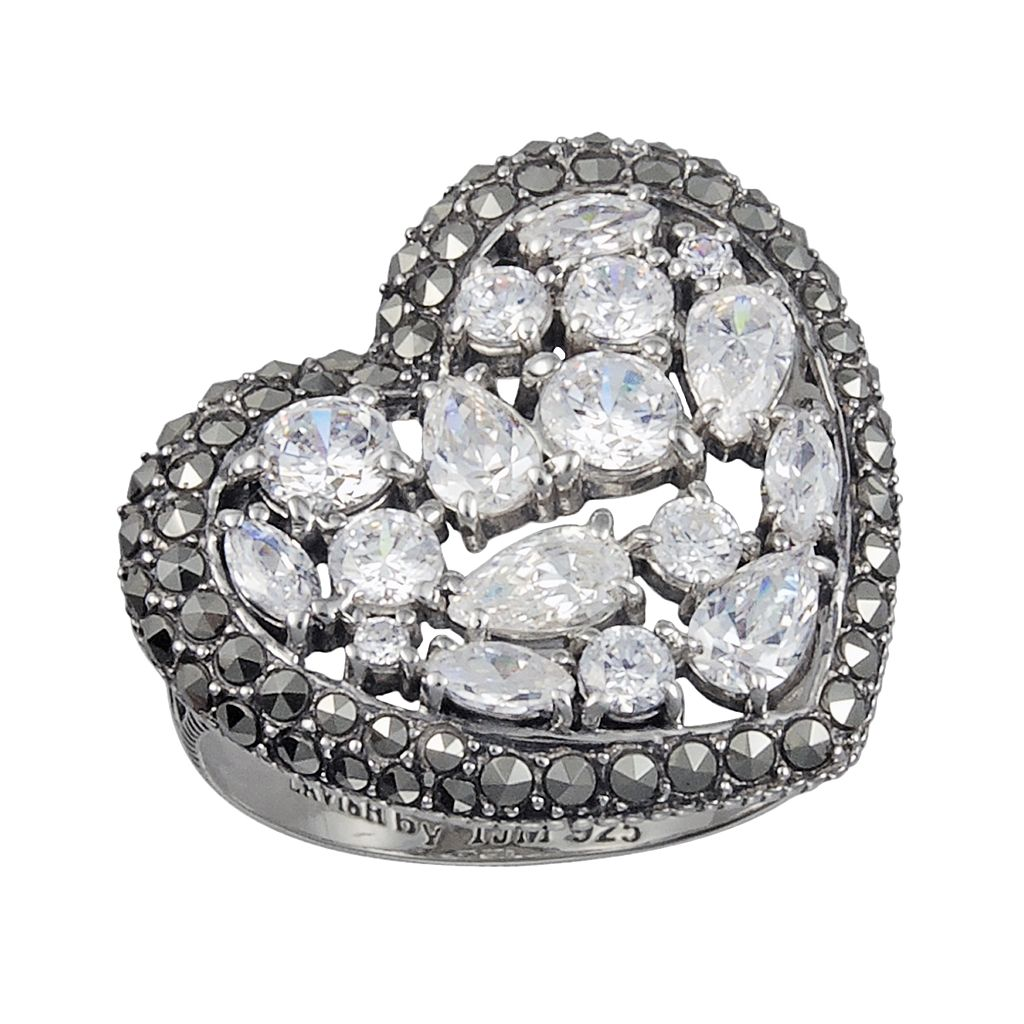 Lavish by TJM Sterling Silver Cubic Zirconia Heart Ring - Made with Swarovski Marcasite