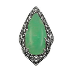 Lavish by TJM Sterling Silver Chrysoprase Filigree Ring - Made with Swarovski Marcasite