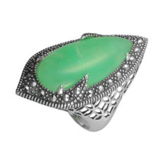 Lavish by TJM Sterling Silver Chrysoprase Filigree Ring - Made with Swarovski Marcasite