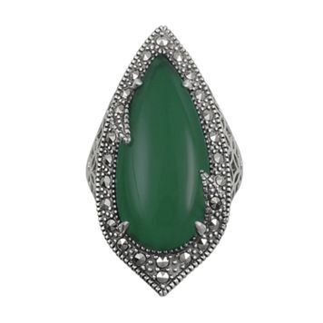 Lavish by TJM Sterling Silver Green Agate Filigree Ring - Made with Swarovski Marcasite