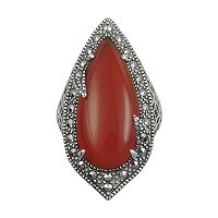 Lavish by TJM Sterling Silver Red Agate Filigree Ring - Made with Swarovski Marcasite