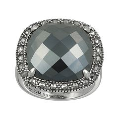 Lavish by TJM Sterling Silver Hematite Square Ring - Made with Swarovski Marcasite