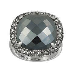 Lavish by TJM Sterling Silver Hematite Square Ring - Made with Swarovski Marcasite