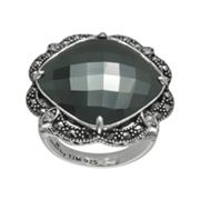 Lavish by TJM Sterling Silver Hematite and Simulated Crystal Ring - Made with Swarovski Marcasite