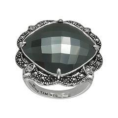 Lavish by TJM Sterling Silver Hematite & Crystal Ring - Made with Swarovski Marcasite
