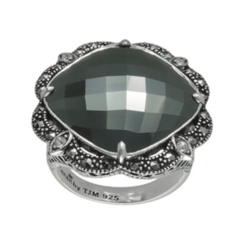 Lavish by TJM Sterling Silver Hematite and Crystal Ring - Made with Swarovski Marcasite