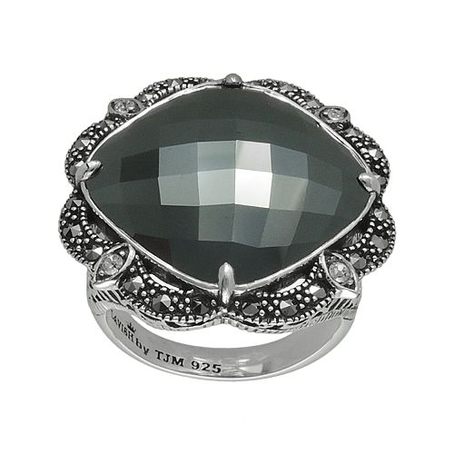 Lavish by TJM Sterling Silver Hematite & Crystal Ring - Made with Swarovski Marcasite