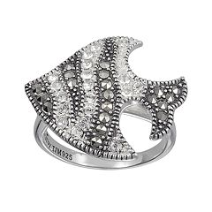 Lavish by TJM Sterling Silver Crystal Fish Ring - Made with Swarovski Marcasite
