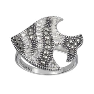 Lavish by TJM Sterling Silver Marcasite and Crystal Fish Ring - Made with Swarovski Marcasite