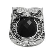Lavish by TJM Sterling Silver Black Onyx, and Simulated Crystal Owl Ring - Made with Swarovski Marcasite
