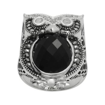 Lavish by TJM Sterling Silver Onyx and Crystal Owl Ring - Made with Swarovski Marcasite