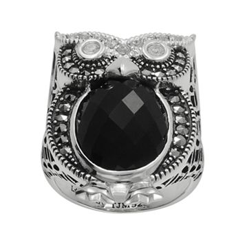 Lavish by TJM Sterling Silver Onyx & Crystal Owl Ring - Made with Swarovski Marcasite