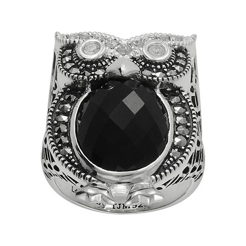 Lavish by TJM Sterling Silver Onyx & Crystal Owl Ring - Made with Swarovski Marcasite