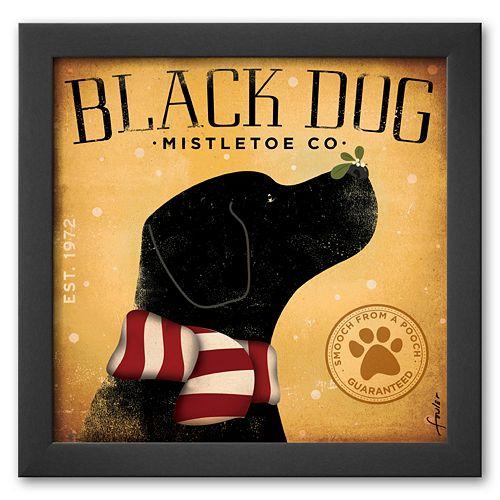 Art.com Black Dog Mistletoe Framed Art Print by Stephen Fowler