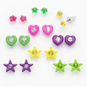 SO Simulated Crystal Star and Heart Stud Earring Set
