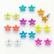 SO Simulated Crystal Flower Stud Earring Set