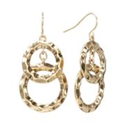 SONOMA life + style Hammered Circle Drop Earrings