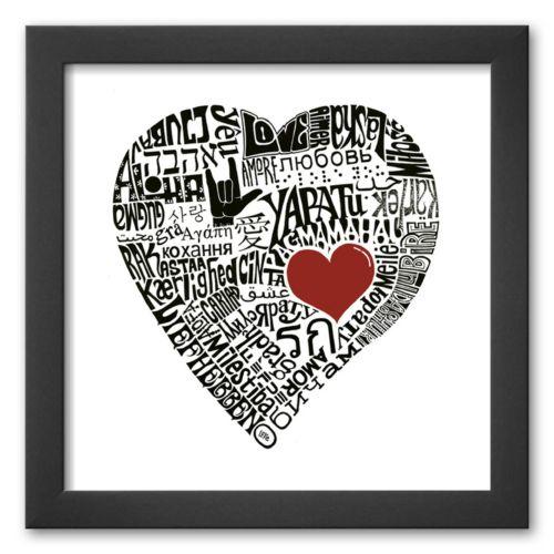 Art.com Love in 44 Languages Framed Art Print