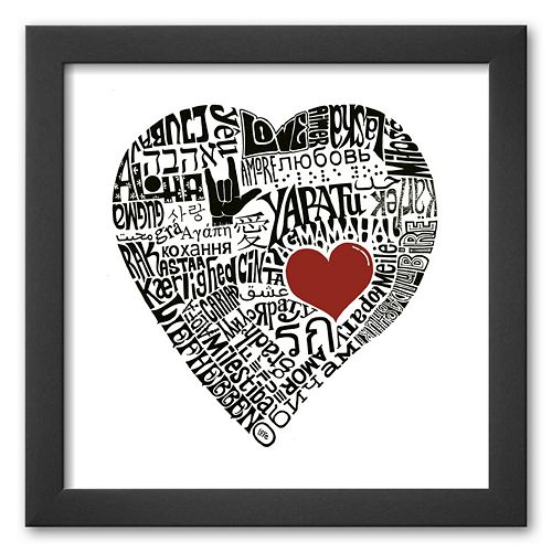 Art.com Love in 44 Languages Framed Art Print