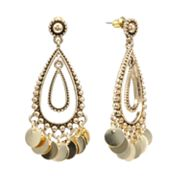 SONOMA life + style Bead and Disc Double Teardrop Earrings