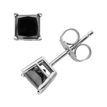 10k White Gold 1-ct. T.W. Black Diamond Solitaire Earrings