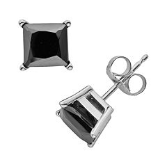 10k White Gold 2 ctT.W. Black Diamond Solitaire Earrings