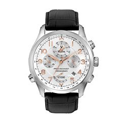 Bulova Precisionist Wilton Stainless Steel Chronograph Leather Watch - 96B182 - Men