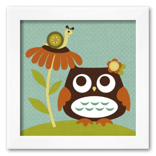 Art.com Owl Looking at Snail Framed Art Print by Nancy Lee