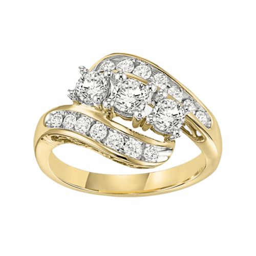 Cherish Signature Round-Cut Diamond 3-Stone Swirl Engagement Ring in 14k Gold (1/4 ct. T.W.)