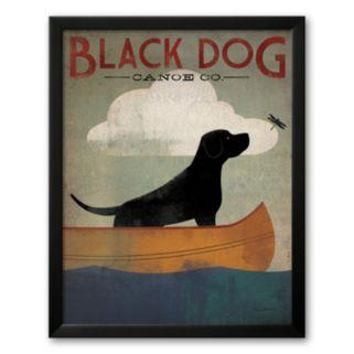 Art.com Black Dog Canoe Framed Art Print By Ryan Fowler
