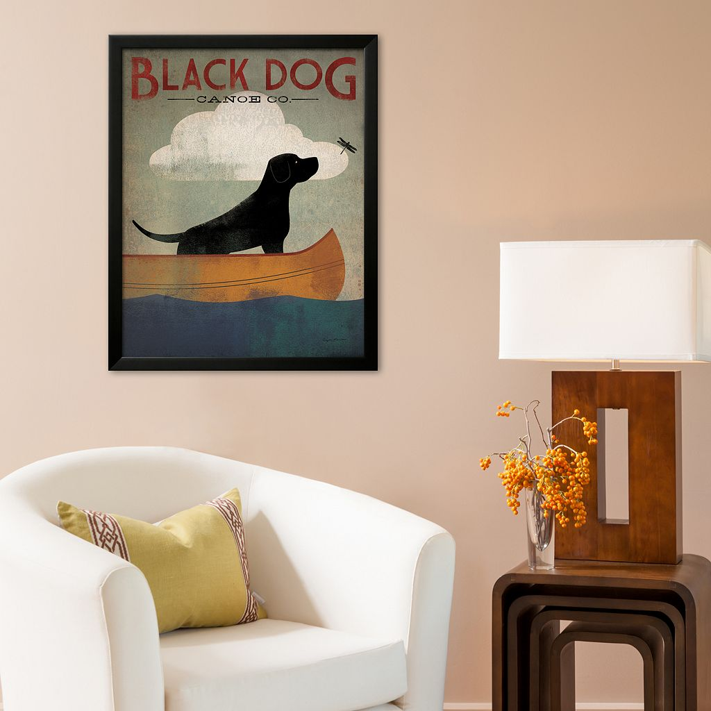 Art.com Black Dog Canoe Framed Art Print By Ryan Fowler