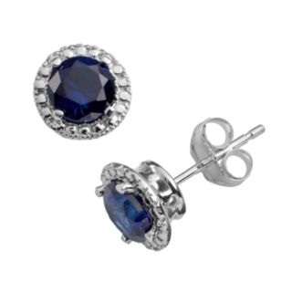 VIVID COLORS 10k White Gold Lab-Created Sapphire Frame Stud Earrings