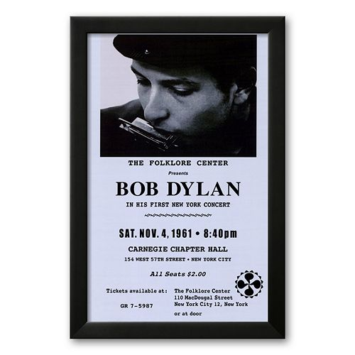 Art.com Bob Dylan, Carnegie Hall, 1961 Framed Art Print