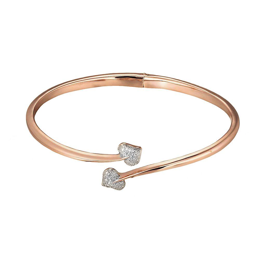 18k Rose Gold Plate & Silver Tone Diamond Accent Heart Bypass Bangle Bracelet