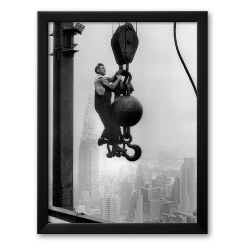 Art.com Construction Worker on the Empire State Building Framed Art Print